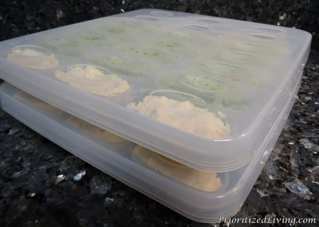 Chicken and Broccoli in Freezer Trays with Lids