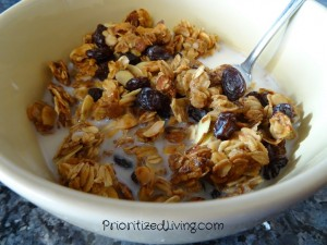 Granola in milk