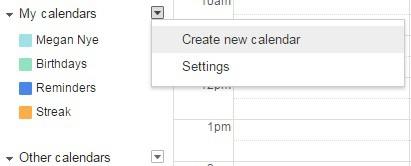 Create new Google Calendar