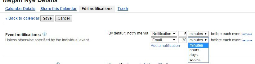 Default Google Calendar notifications