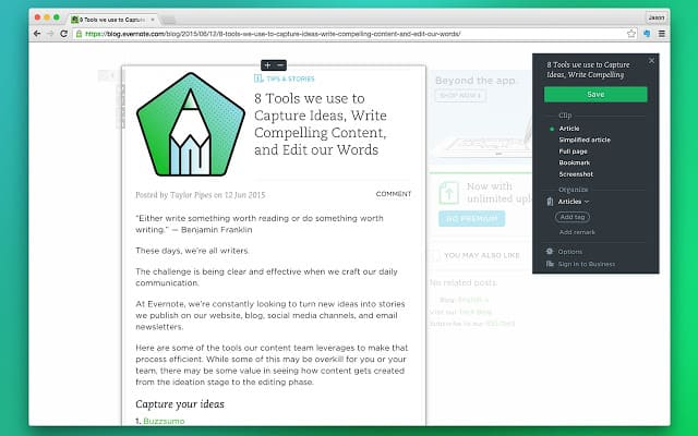 Chrome Extensions - Evernote Web Clipper