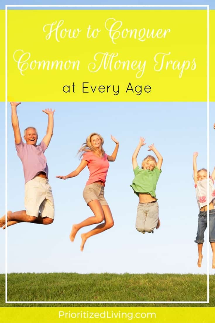 No matter how old you are, you can fall into some big money mistakes. Here are some tips for tackling the financial obstacles you face in each decade. | How to Conquer Common Money Traps at Every Age | Prioritized Living