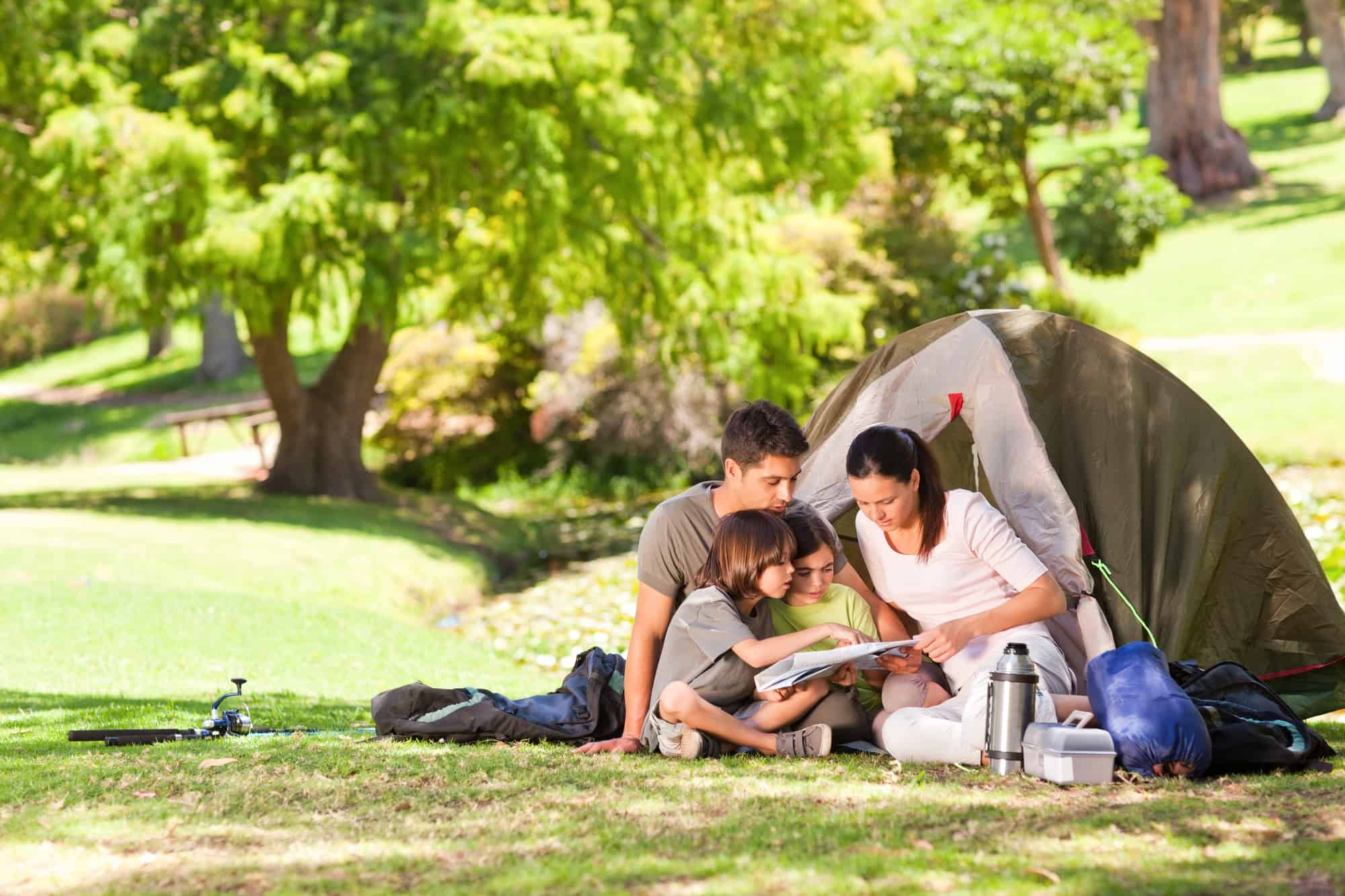 family camping with a tent