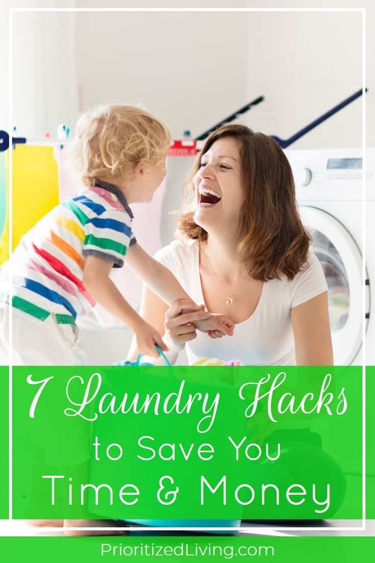 What if doing the laundry could be faster and easier? Cleaning clothes doesn't have to be a chore. Try these 7 laundry hacks to save you time and money! | 7 Laundry Hacks to Save You Time and Money | Prioritized Living