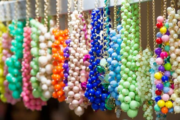 Jewelry hanging on hooks