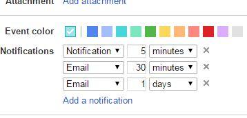 Google Calendar event notifications