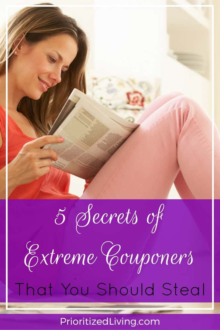 Want to use strategies of extreme couponers while dialing the effort required WAY down? Here are 5 couponing secrets that you can implement in your life. | 5 Secrets of Extreme Couponers That You Should Steal | Prioritized Living