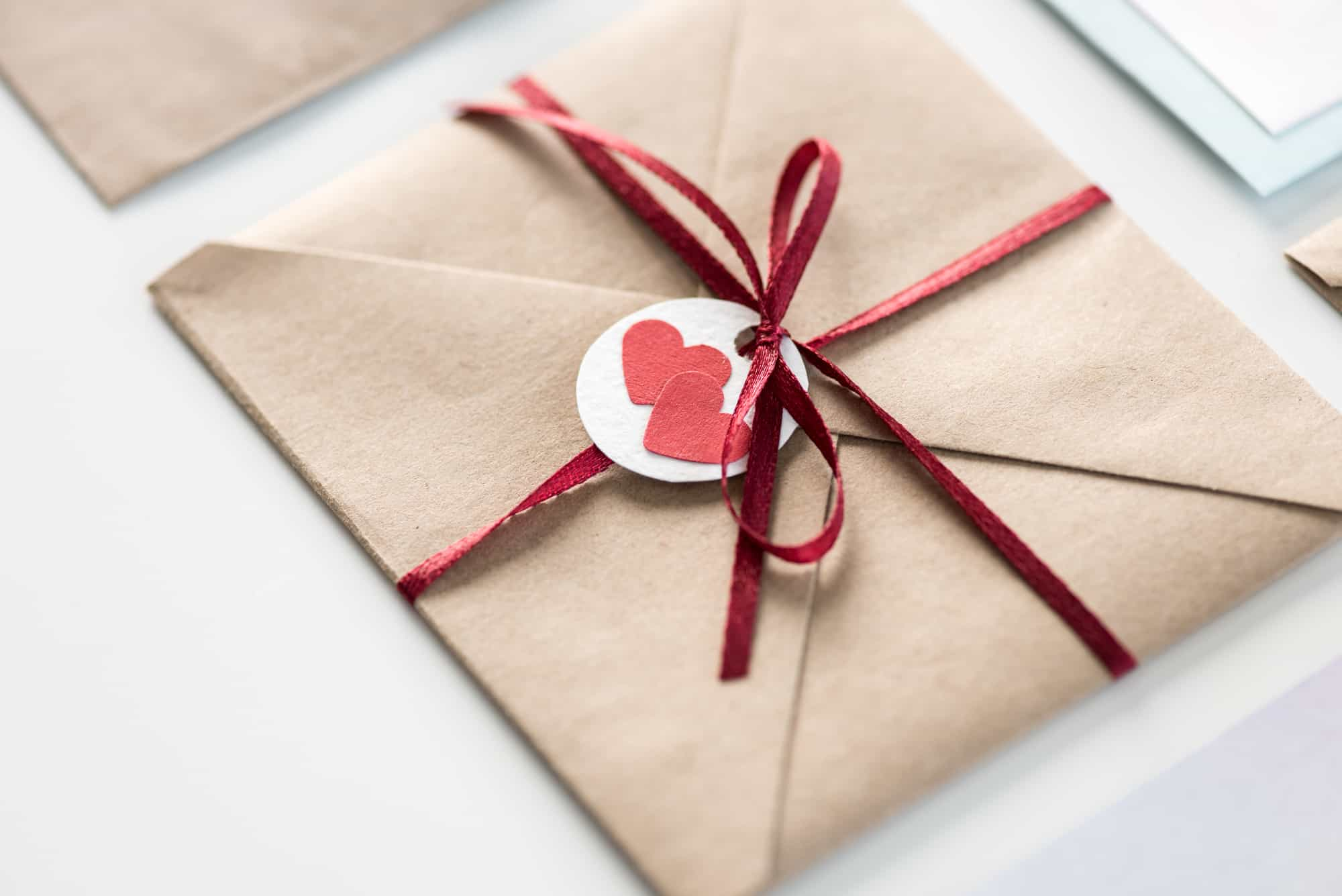 Envelope with tag with hearts