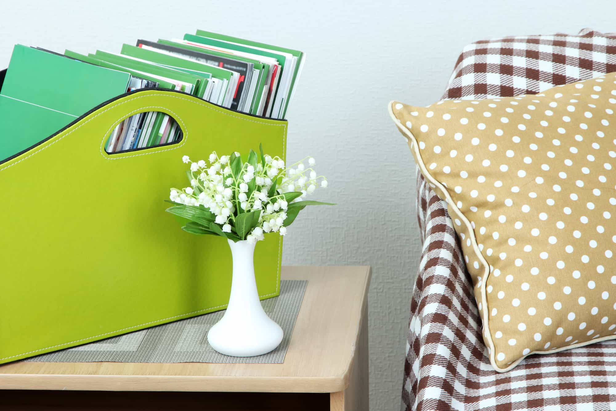 Magazines and folders in green box on bedside table in room