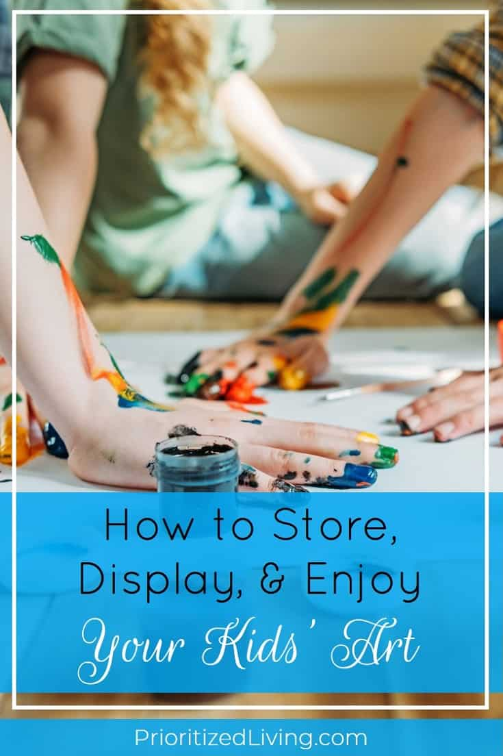 Overrun with your kids' masterpieces? Here are some fantastic ways to display, consolidate, store, organize, and enjoy your their artistic creations!   How to Store, Display, and Enjoy Your Kids' Art   Prioritized Living