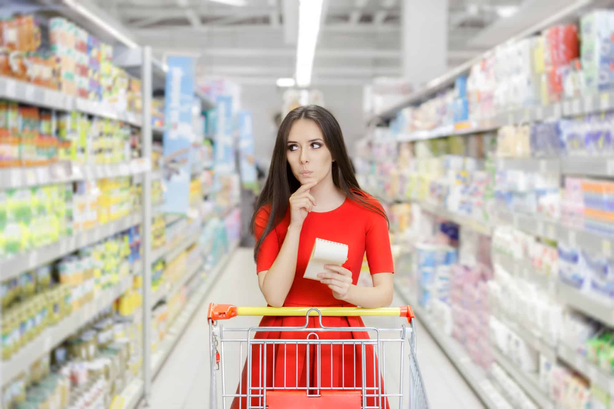 Curious Woman in the Drugstore with Shopping List