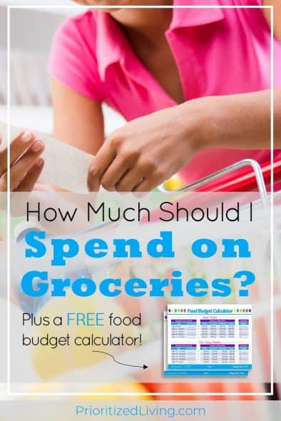 Spending too much on your family's food? Try these 4 easy steps to learn exactly how much to budget for groceries. And grab the FREE food budget calculator! | How Much Should I Spend on Groceries? | Prioritized Living