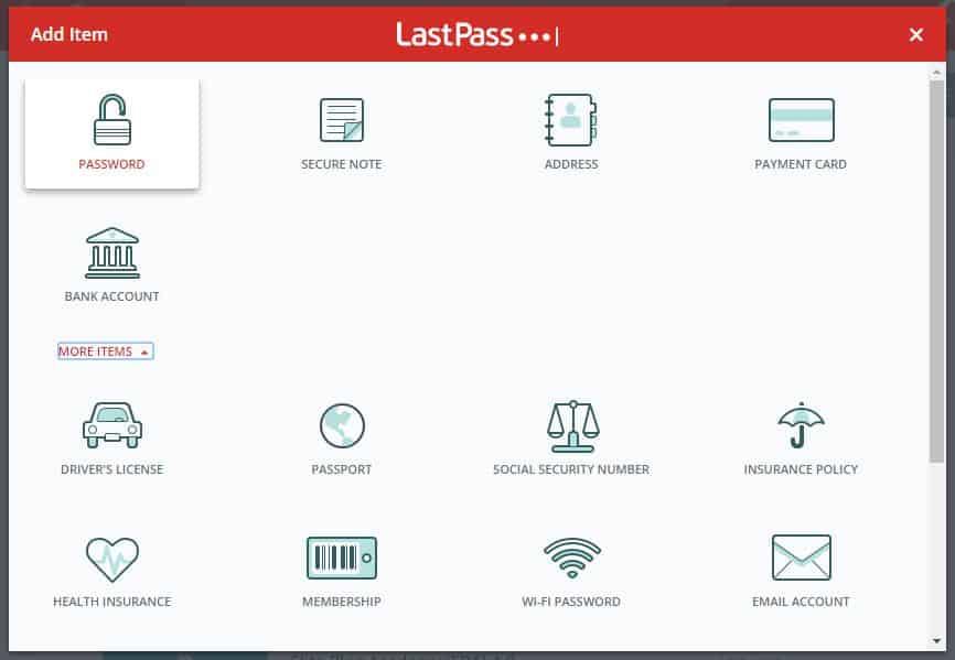 LastPass Add Item