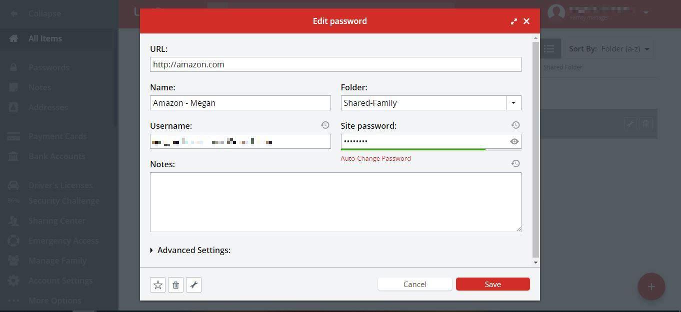LastPass Edit Password Dialogue Box