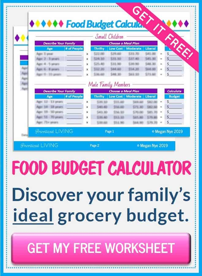 Food Budget Calculator - Prioritized Living