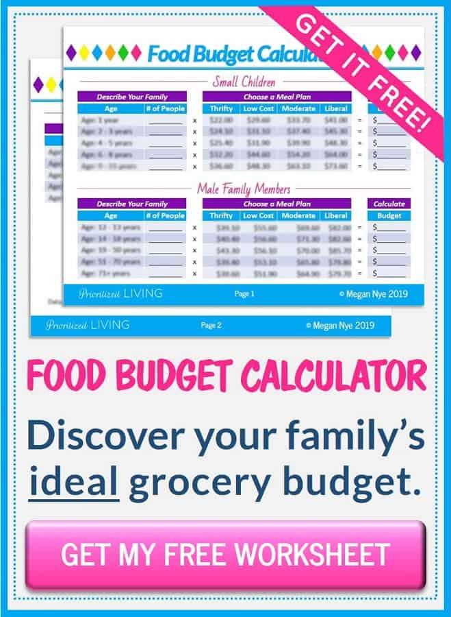 Food Budget Calculator - Prioritized Living