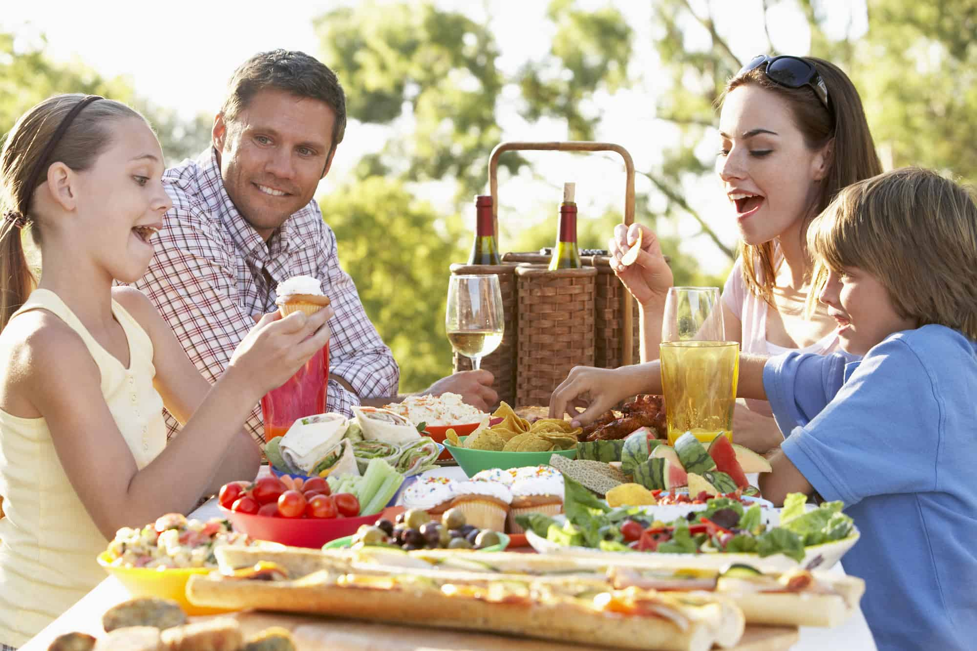 family eating a picnic meal together