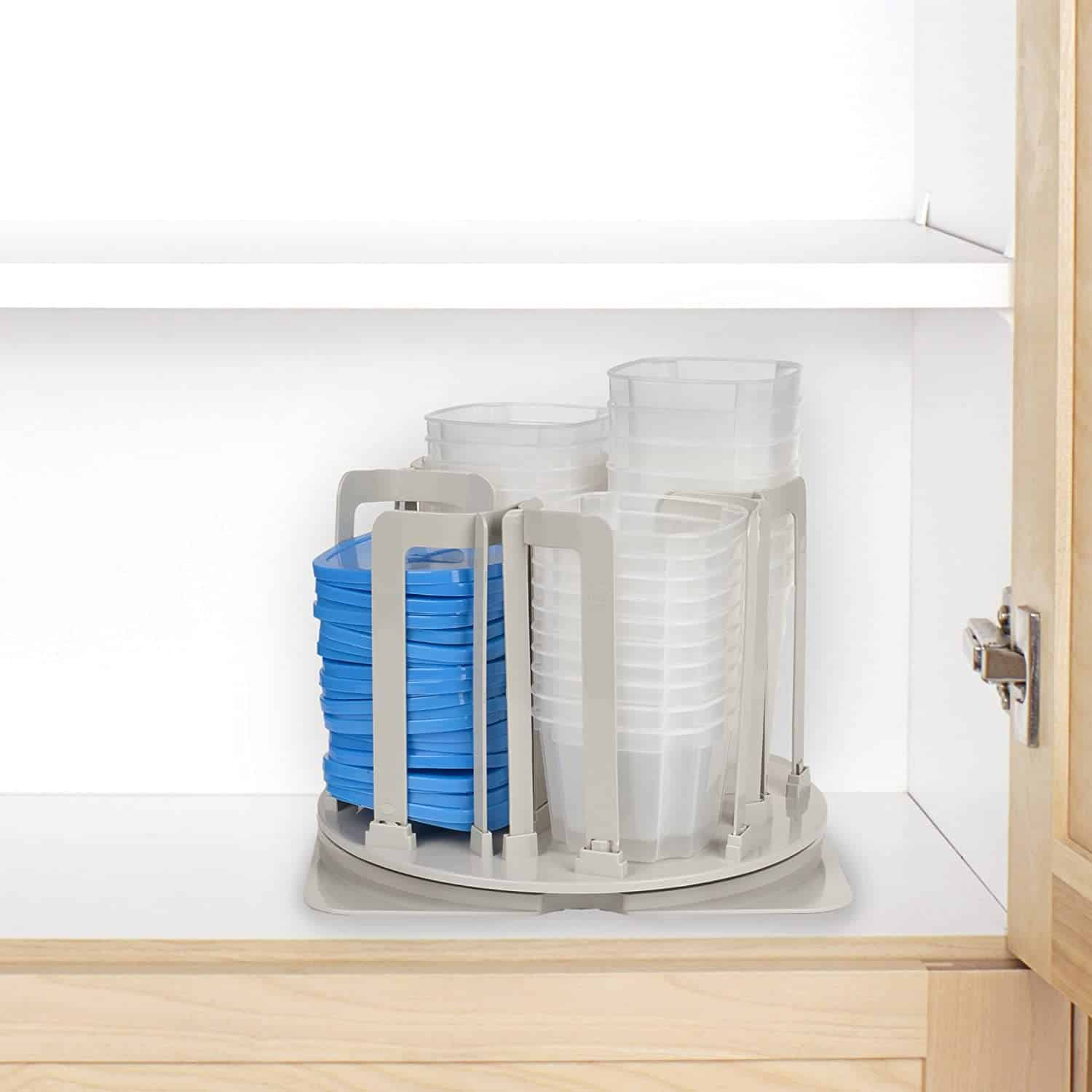turntable Tupperware organizer