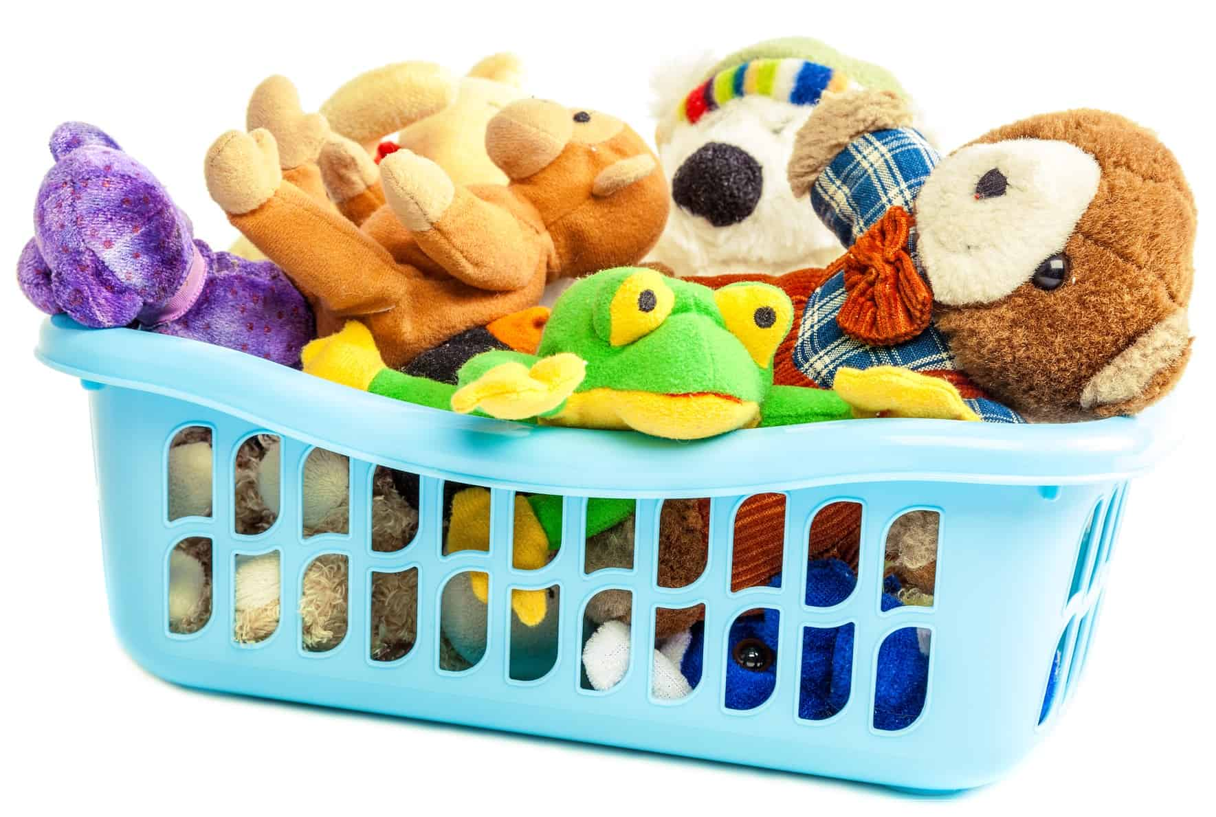 stuffed animals in laundry basket